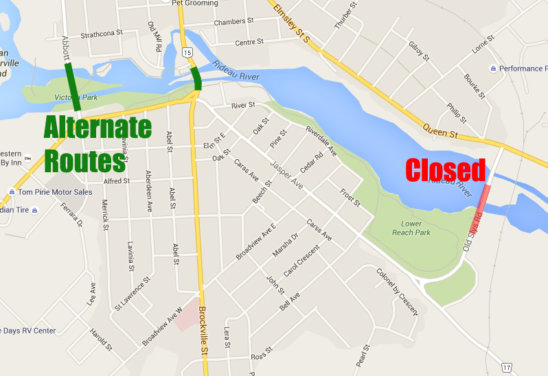 Temporary closure of Old Slys swing bridge in Smiths Falls May 1st, 2nd