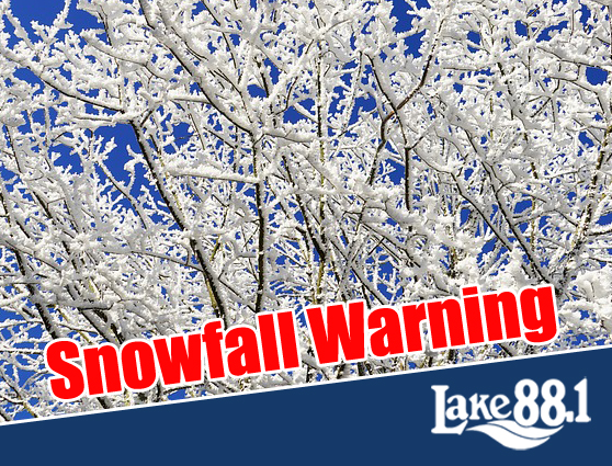 Sat. Jan. 18, 2020 – Snowfall Warning issued, travel expected to be difficult